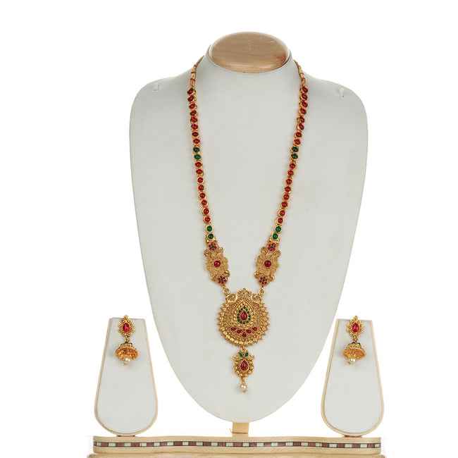Latest Dropshape Design Green Maroon Color Long Necklace Set