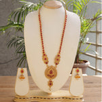 Latest Dropshape Design  Maroon Color Long Necklace Set