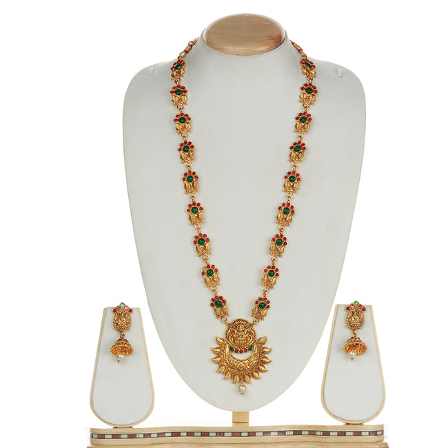 Attractive Laxmi Design Green Maroon Long Necklace Set