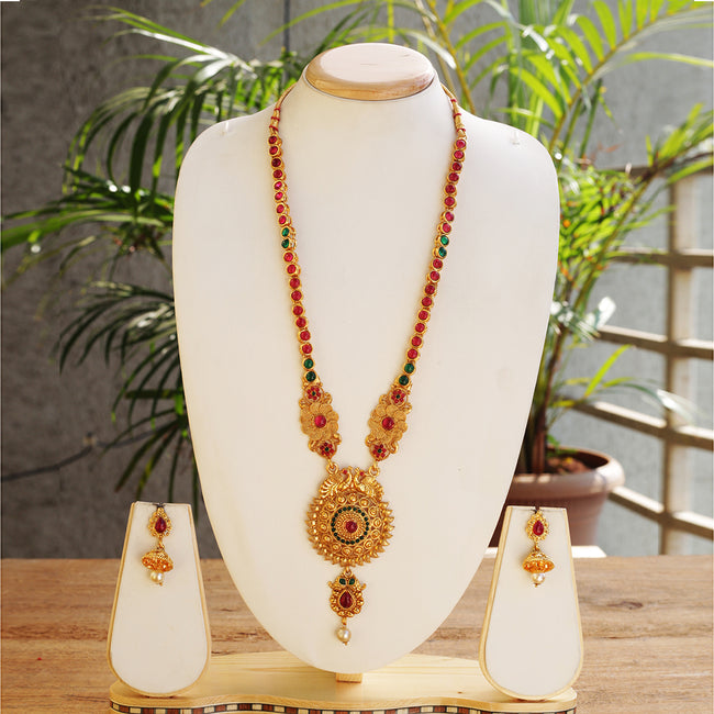 Pretty Green Maroon Color Peacock Design Long Necklace Set