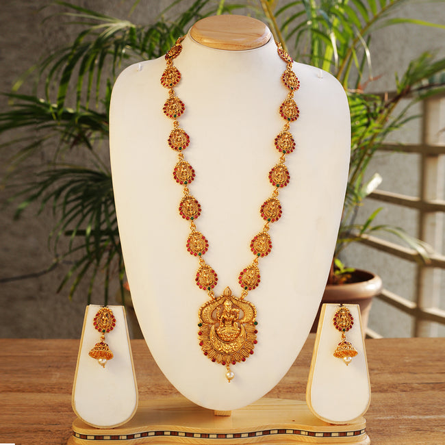 Attractive Laxmi Design With Laxmi Patta Green Maroon Long Necklace Set