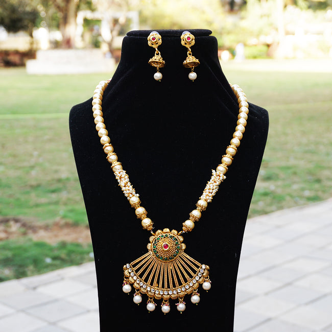 Ethnic Green Maroon Color Long Necklace Set