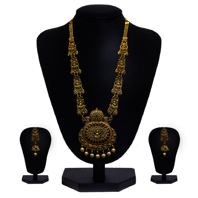 Look Ethnic Gold Plated Long Necklace For Women (LEMZL00254)