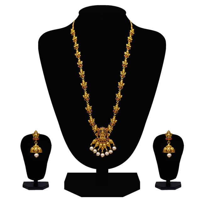 Look Ethnic Gold Plated Long Necklace For Women (LEMZL00256)