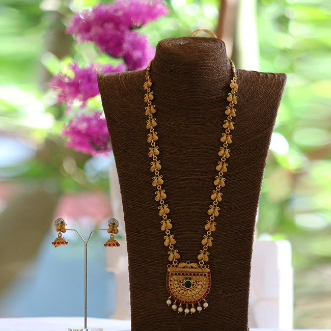 Latest Ganpati Patta Design With Laxmi Pendent Maroon Long Necklace Set