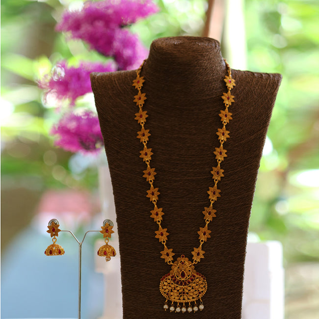 Latest Peacock Design Maroon Color Long Necklace Set