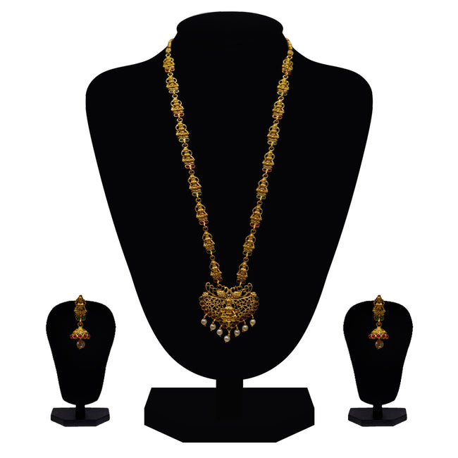 Look Ethnic Gold Plated Long Necklace For Women (LEMZL00260)