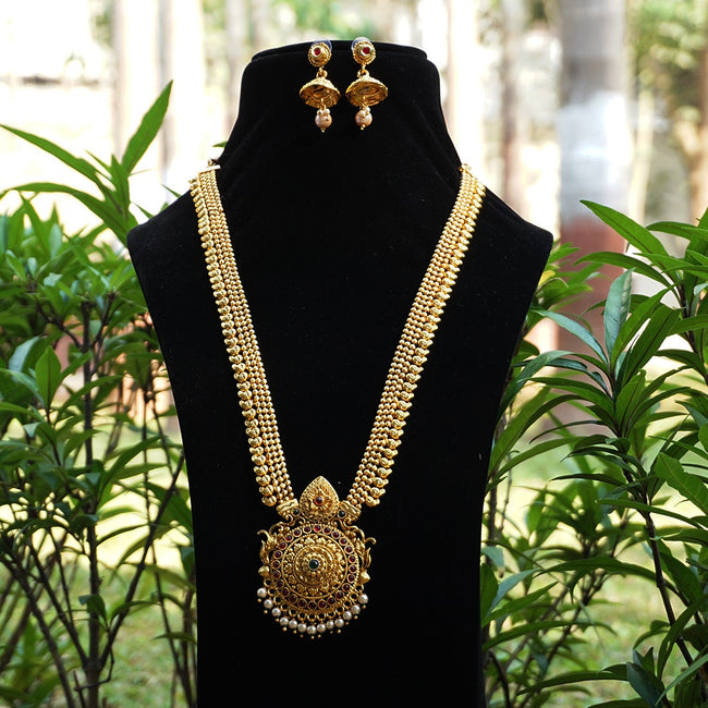 Look Ethnic Gold Plated Long Necklace For Women