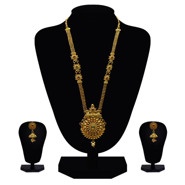 Look Ethnic Gold Plated Long Necklace For Women (LEMZL00276)
