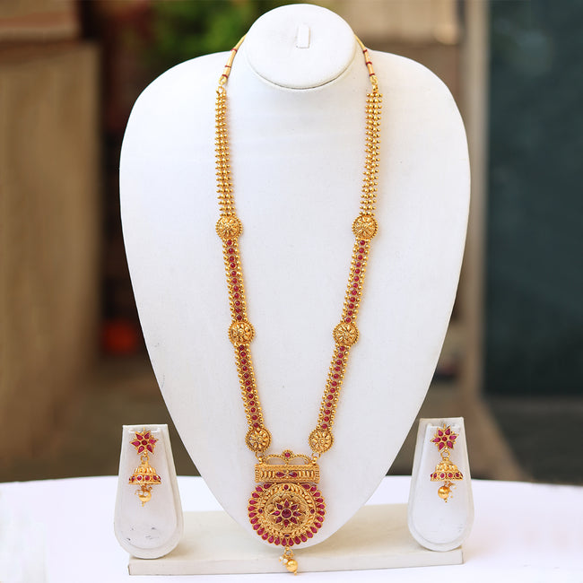 Gold Plated MaroonLong Necklace For Women LEMZL00282