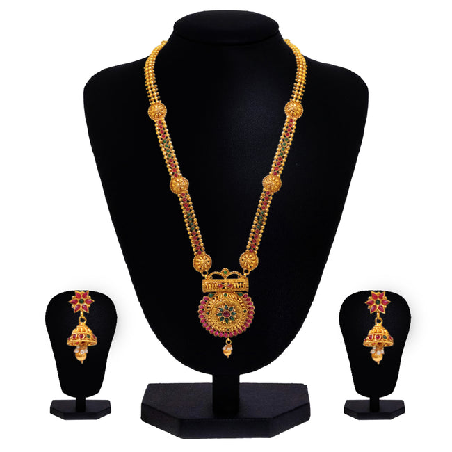 Look Ethnic Gold Plated Long Necklace For Women (LEMZL00283)