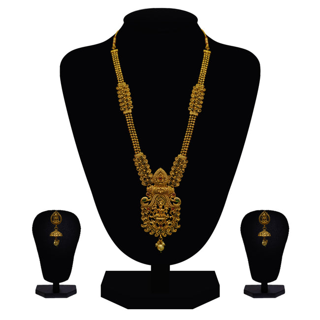Look Ethnic Gold Plated Long Necklace For Women (LEMZL00284)