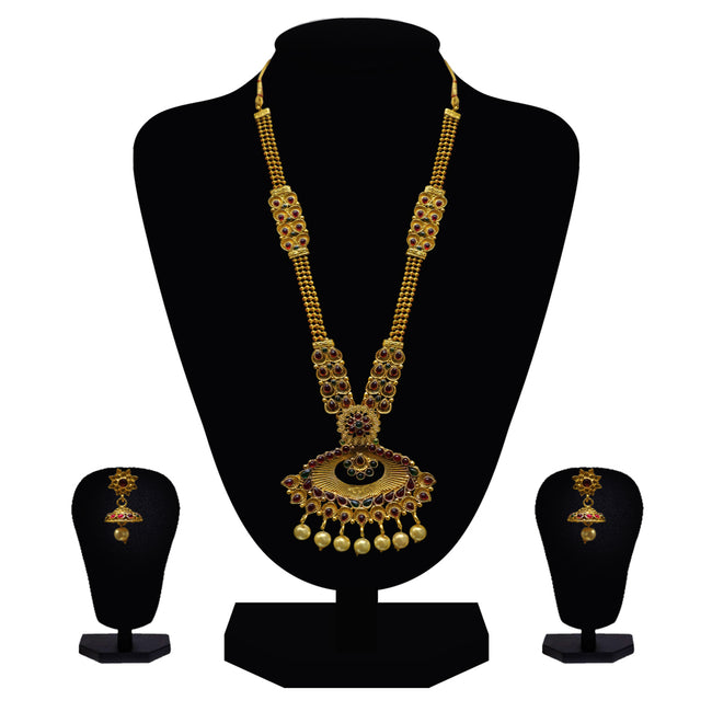 Look Ethnic Gold Plated Long Necklace For Women (LEMZL00286)