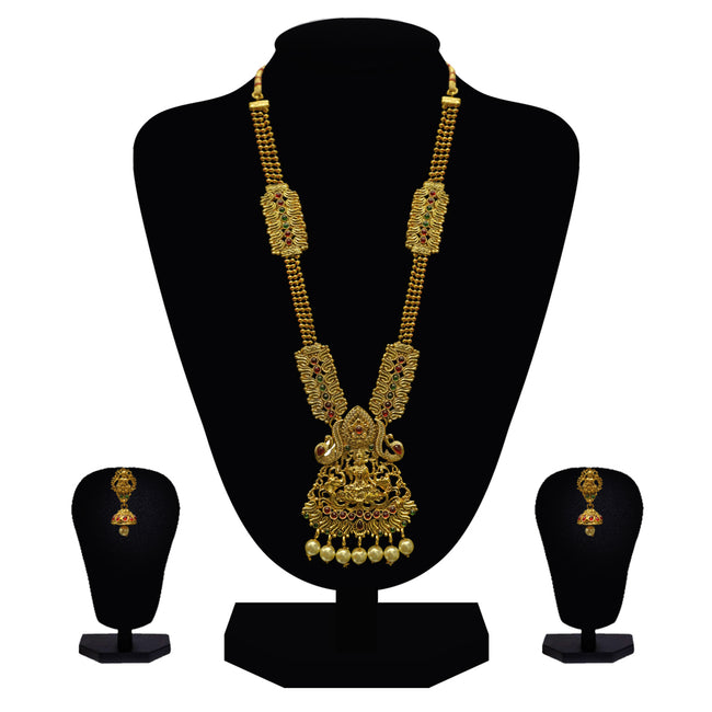 Look Ethnic Gold Plated Long Necklace For Women (LEMZL00290)
