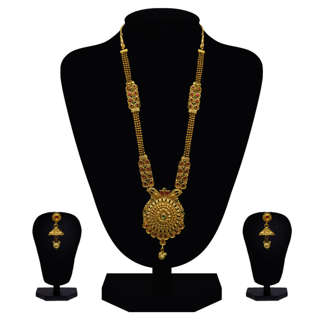 Look Ethnic Gold Plated Long Necklace For Women (LEMZL00292)