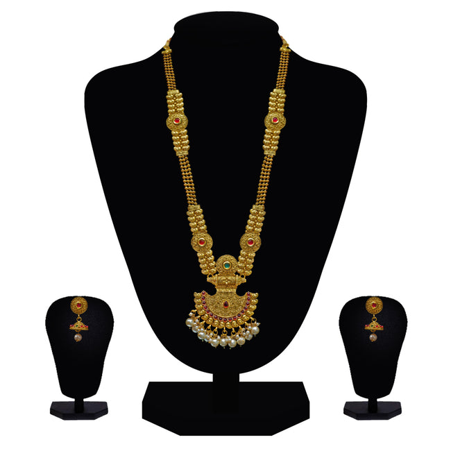 Look Ethnic Gold Plated Long Necklace For Women (LEMZL00294)