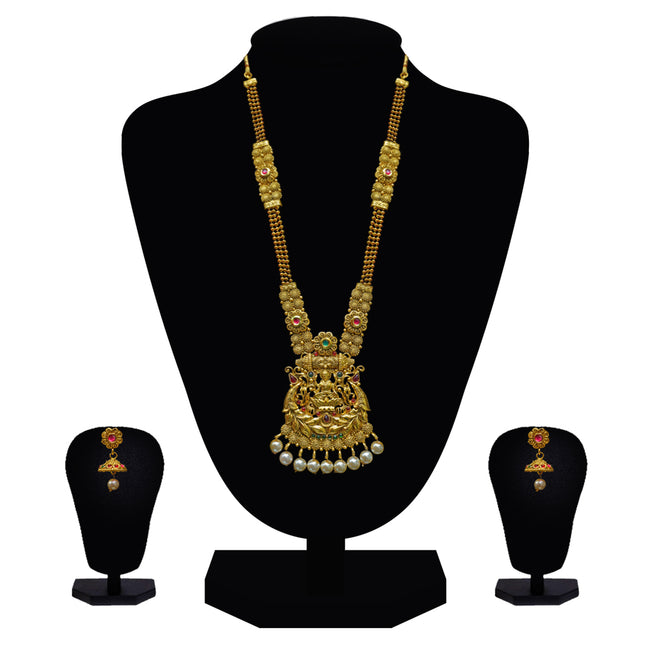 Look Ethnic Gold Plated Long Necklace For Women (LEMZL00298)