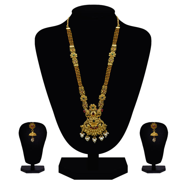 Look Ethnic Gold Plated Long Necklace For Women (LEMZL00300)