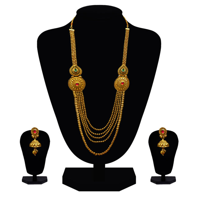 Look Ethnic Gold Plated Long Necklace For Women (LEMZL00304)