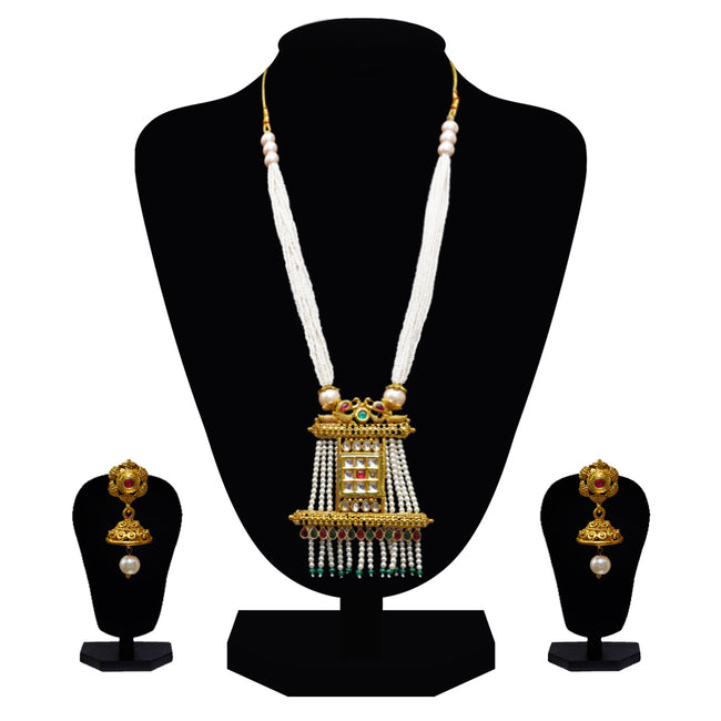 Look Ethnic Gold Plated Long Necklace For Women (LEMZL00306)