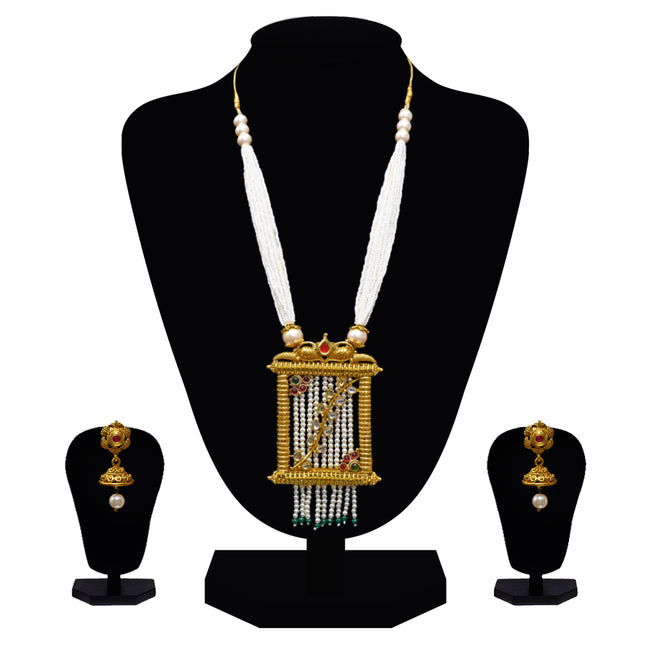 Look Ethnic Gold Plated Long Necklace For Women (LEMZL00307)
