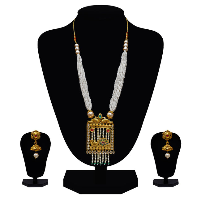 Look Ethnic Gold Plated Long Necklace For Women (LEMZL00308)