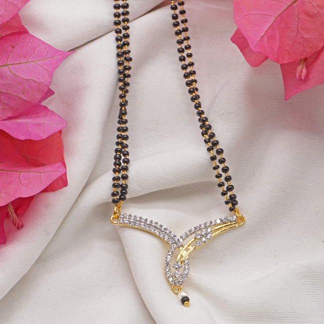 Rhodium Plated AD Mangalsutra For Women