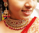 Fabulous Maroon Kundan & White AD Stone Color Choker Necklace Set