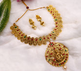 Laxmi Peacock Style Traditional Short Necklace With Earring
