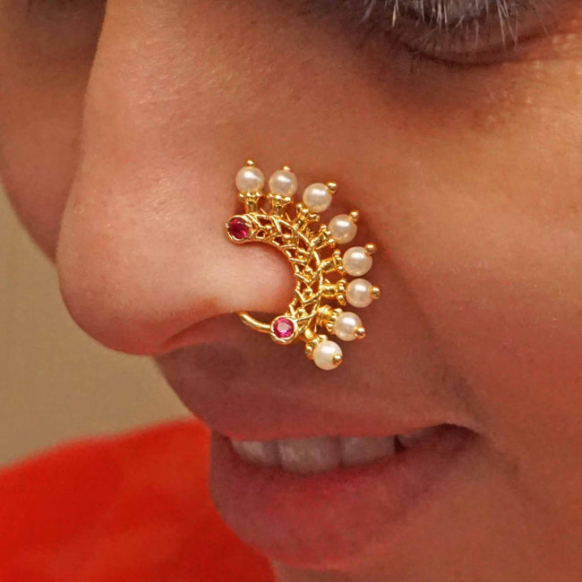 1 Grm Gold Plated Press Type Peshvai Collection Nath Nose Ring