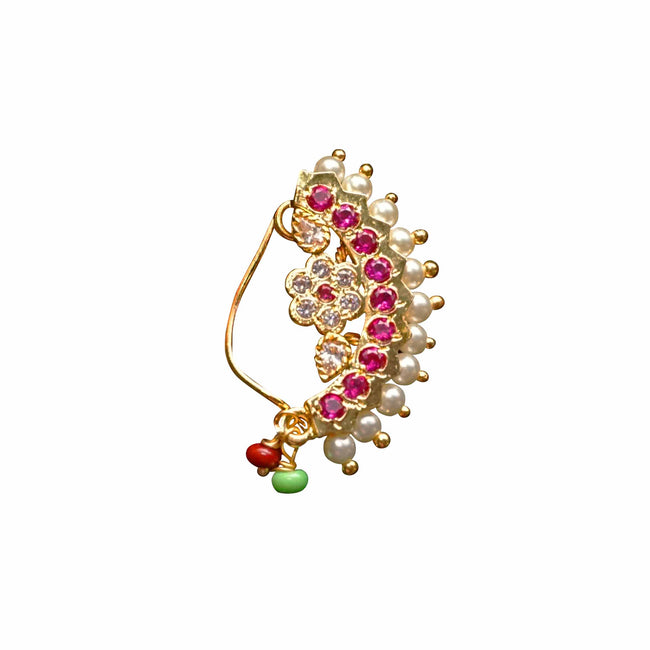 1 Grm Gold Plated Trendy Flower Design Nath