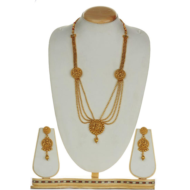 Golden Laxmi Design 3 Layer Mala Long Necklace Set