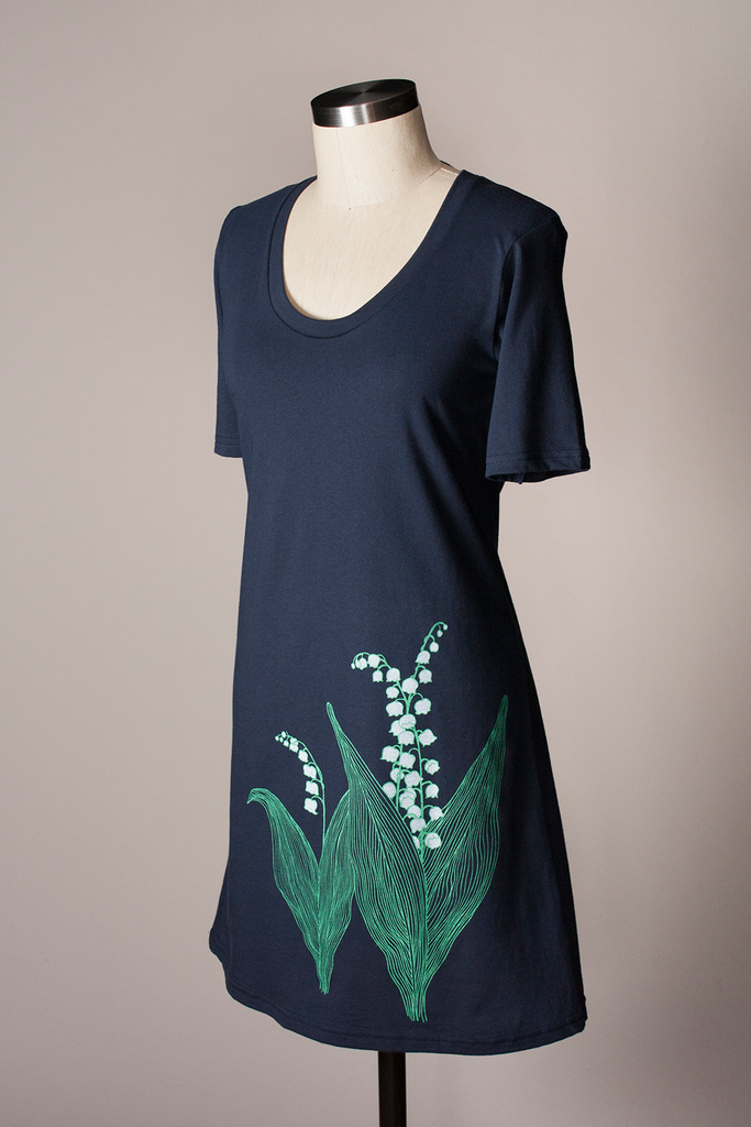 Lily of the Valley Dress - Navy