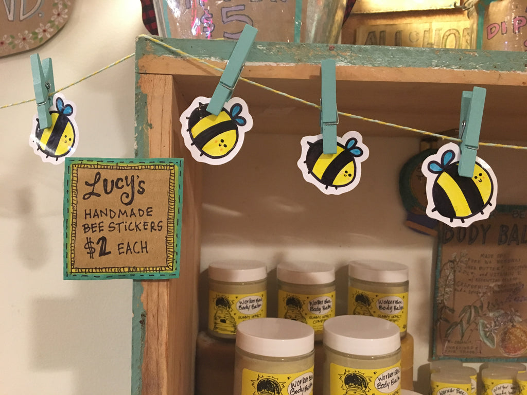 Lucy's handmade bee stickers