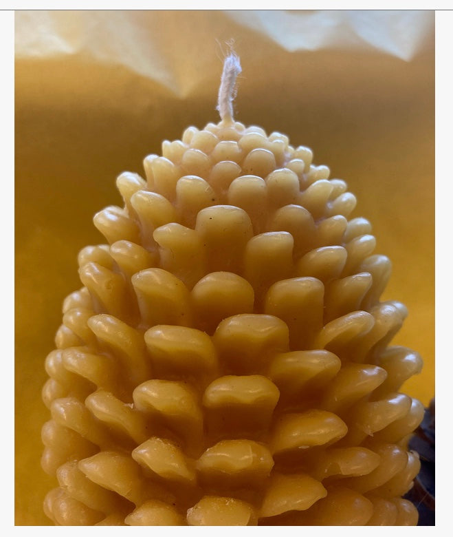 100% Beeswax Pine Cone Candles