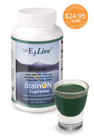 E3 Live Blue Green Algae + BrainON SUPREME Fresh Frozen 8oz 6 PACK DISCOUNT