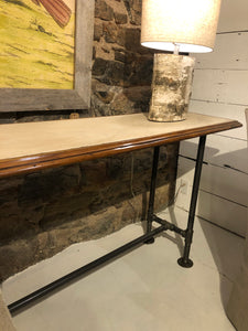 "Marble Console w/ Pipe Base- 34"" height"
