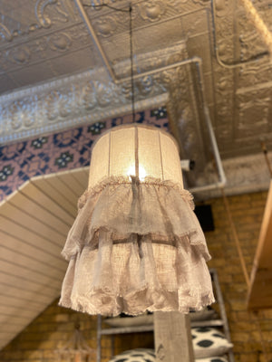 Tattered Ruffle Pendant Light - Grey - Small