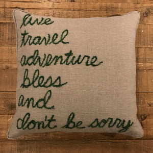 Word Yarn Pillow 22x22 - Live Travel Adventure