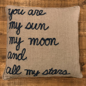 "Word Yarn Welt Pillow 22x22 - ""Sun Moon Stars"""