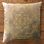 Velvet Pillow 22x22 - Moroccan Metal/Sage