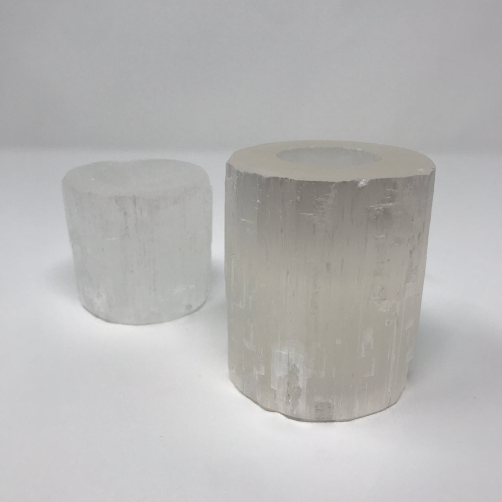 Selenite Cylinder Candle Votive - Large