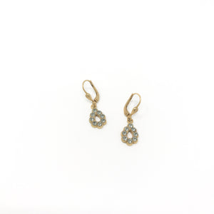 Rhinestone Teardrop Earring - Gold/Grey