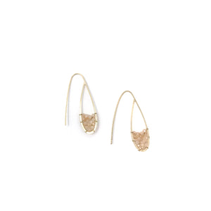 Gold Crystal Beaded Hook Earring - Pink