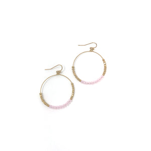 Gold Crystal Beaded Hoop Earring - Pink
