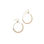 Gold Crystal Beaded Hoop Earring - Gold