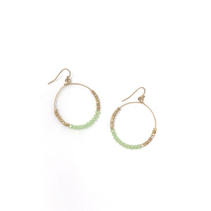 Gold Crystal Beaded Hoop Earring - Green