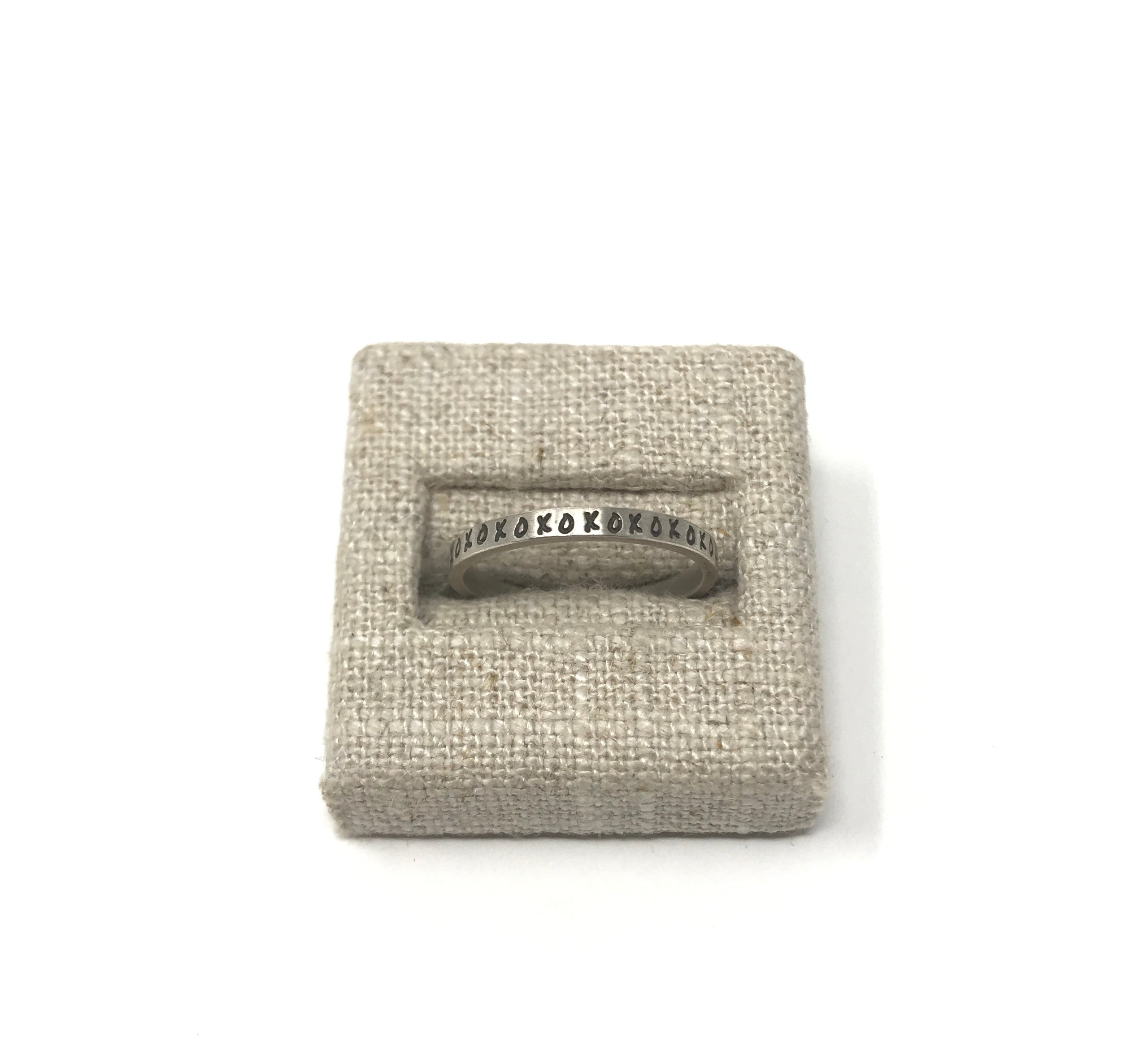 "2.5mm Standard Band Silver Ring - ""xoxo"" - Size 7"