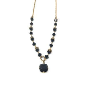Gold Crystal Beaded Necklace - Black