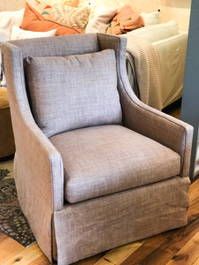 Apricot Linen Swivel Chair - Performance Linen